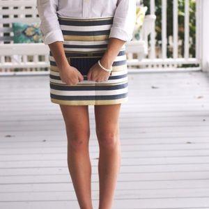 J. CREW shiny stripes metallic mini skirt 10